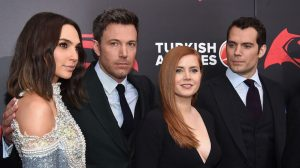 """NEW YORK, NEW YORK - MARCH 20: (L-R) Actors Gal Gadot, Ben Affleck, Amy Adams, and Henry Cavill attend the """"Batman V Superman: Dawn Of Justice"""" New York Premiere at Radio City Music Hall on March 20, 2016 in New York City.   Dimitrios Kambouris/Getty Images/AFP == FOR NEWSPAPERS, INTERNET, TELCOS & TELEVISION USE ONLY =="""